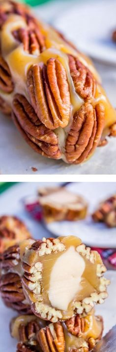 The sweetest vanilla nougat, wrapped up in soft buttery caramel, with a layer of pecans on the outside to make a perfect candy log. This is Christmas at it's finest! Perfect for host or neighbor gifts. From The Food Charlatan. by emily