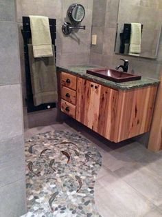leaf ceramic tile shower floor-a cool way to fell like you\'re taking ...