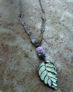 Roads Less Traveled Ceramic Leaf Pendant - Lilac | Humblebeads Jewelry