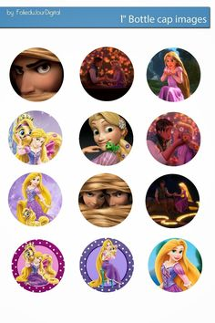 Folie du Jour Bottle Cap Images: Tangled Free digital bottle cap images