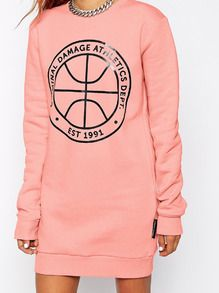 Pink Long Sleeve Pattern Print Dress -SheIn(Sheinside)