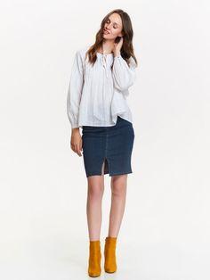 bluzka długi rękaw  biała - SBD0732 TOP SECRET Top Secret, Bermuda Shorts, Womens Fashion, Model, Tops, Style, Swag, Scale Model