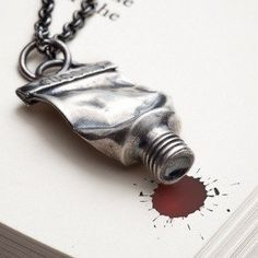 Silver paint tube necklace Silver amulet charm necklace