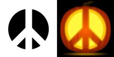 Peace sign pumpkin carving stencil. Free PDF pattern to download and print at http://pumpkinstencils.org/download/peace-sign-pumpkin-stencil/