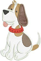 Adorable Applique Dog with red collar