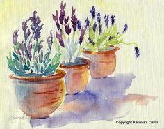 Lavender in Terracotta Watercolor Print by katrinascards on Etsy, $12.00
