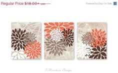 ON-SALE Floral Bursts Botanicals Wall Art Print Set of (3) 5 x 7, 8 x 10 or 11 x 14 // Coral, Brown, Dust, White // Modern Home Decor by 7WondersDesign on Etsy https://www.etsy.com/listing/191281333/on-sale-floral-bursts-botanicals-wall