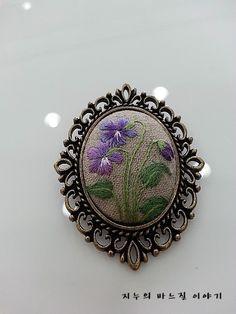 야생화 자수 브로치3^^ : 네이버 블로그 Blackwork Embroidery, Hand Embroidery Stitches, Silk Ribbon Embroidery, Embroidery Jewelry, Embroidery Patterns, Fabric Beads, Fabric Jewelry, Brooches Handmade, Handmade Jewelry