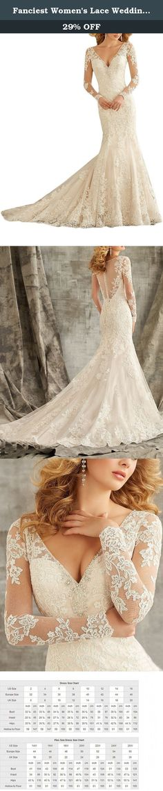 Fanciest Women's Lace Wedding Dresses V Neck Mermaid Long Sleeve Wedding Dress Ivory US24W. This lace dress with Long Sleeves design is very lovely and eyes catching. The fabric is lace with light, soft, smooth and straight features, which is mostly used in women's fashionable special occasion dresses such as prom dress, girls' party dresses,Homecoming Dress es, beach party dresses.Perfect choice for evening gown and wedding bridesmaid dress. Dresses can be made according to your...