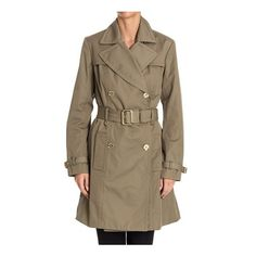Michael Kors Double-Breasted Trench (27.850 RUB) ❤ liked on Polyvore featuring outerwear, coats, green, brown coat, trench coats, brown trench coat, brown double breasted coat and cotton coat
