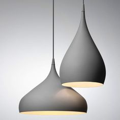 "Inspired by the spinning top, these the Spinning Pendants by Benjamin Hubert are lathe-spun in the manufacturing process and retain that sense of movement in their curvature and sleek lacquered profile. Here, form truly meets functions in an innovative way. This playful design provides direct ambient illumination and is available in two sizes and three colors.  The Spinning shade is spun into shape from a single piece of aluminum. 157.48"" PVC cord matches color of aluminum. Canopy included… Pendant Light Fitting, Modern Pendant Light, Glass Pendant Light, Pendant Lamp, Home Lighting, Chandelier Lighting, Modern Lighting, Lighting Design, Kitchen Pendant Lighting"