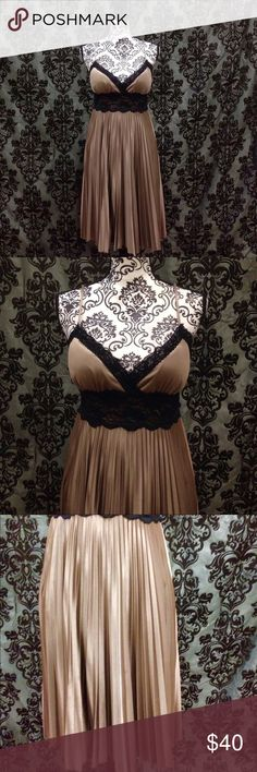 XOXO Blk/Gold Pleated Sexy Satin Lingerie Dress This is a re-posh. Unfortunately it didn't fit me. Size large but runs small. No flaws. Has stretch. Pleated skirt. Lace bodice details. Knee length. Great quality. Gold/copper & black. Free gift XOXO Dresses Midi
