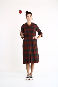 Vintage Plaid Dress . Red Grey 1960s by VeraVague on Etsy, $125.00