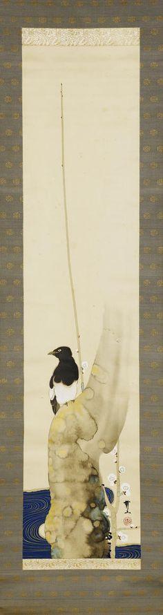 木村武山 Kimura Buzan (1876-1942)『白梅に鵲図』 Meiji/Taisho Period