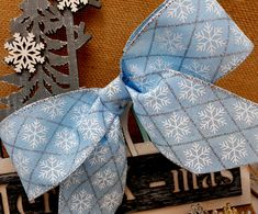 Nordic Blue Snowflake Wire Edged Wired Ribbon x Christmas Birthday Cake Tree Decorations Vintage Scandi Tinsel Bows White Snowflake, Snowflakes, Christmas Birthday Cake, Glitter Frosting, Christmas Wired Ribbon, Silver Glitter, Tree Decorations, Vintage Christmas, Bows
