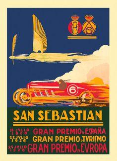1026 San Sebastian Spain Car Race Grand Prix Europe Vintage Poster Repo FREE SH | Art, Art Posters | eBay!