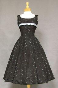 Black Taffeta 1950's Cocktail Dress w/ Turquoise Embroidery