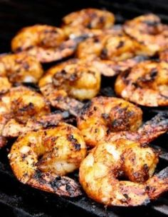 Recipe For Grilled Caribbean Jerk Shrimp 2 ways - When grilled on the plank, the shrimp cook slower and turn out a bit saucier, with a hint of smoke. Grilling Recipes, Fish Recipes, Seafood Recipes, Great Recipes, Cooking Recipes, Favorite Recipes, Healthy Recipes, Cajun Shrimp Recipes, Recipies