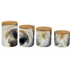 Modern Marble 4 Piece Kitchen Canister Set
