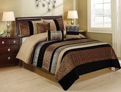 7 Piece SAMBER Faux Fur Patchwork Stripe Comforter Set Queen King CalKing Size In Multi Colors