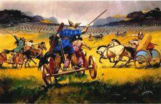 british celtic chariots attacking the roman line