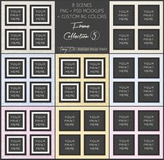 10x10 Set of 4 Matted & Unmatted Black Square Frames on White Brick and Plain Wall, 8 Print Display Mockups, Custom wall colors, 8x8 16x16
