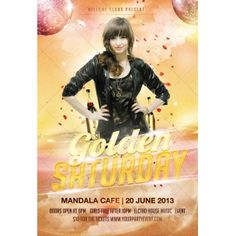 Golden Saturday poster template - modern flyer design for club, nightclub, celebration, disco, party, printable poster template. http://www.123creative.com/print-templates/527-golden-saturday-disco-party-flyer-psd.html
