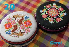 No.20 Round Tin Cans 1 | Gera!SHOP Cross Stitch Embroidery, Cross Stitch Patterns, Japanese Outfits, Crafty, Canning, Sewing, How To Make, Tin Cans, Base