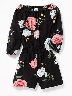 3091f5eabc9 Floral Cinched-Waist Romper for Girls Floral Romper