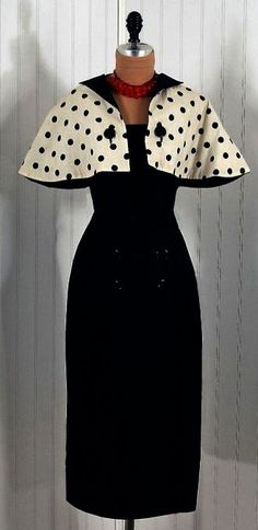 Retro Fashion vintage Pauline Trigere wiggle dress with black and white polka-dot capelet.- Must re-create this! Retro Mode, Vintage Mode, Vintage Wear, Vintage Looks, Vintage Outfits, Vintage Clothing, Vintage Dresses For Sale, 50s Clothing, Vintage Black