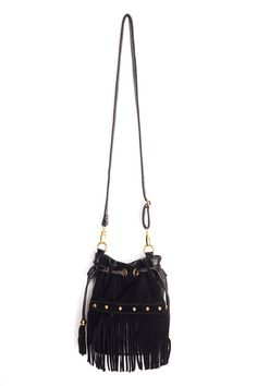 Studded Fringe Bucket Bag