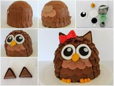 Have you ever tried making an owl cake? If not then try this one that is so adorable and super easy to recreate. To make this cute cake, you will need : 2 six inch round cake layers 1 half of a bal… Chocolate Art, Chocolate Frosting, Whipped Buttercream, Ladybug Cakes, Owl Cupcakes, Red Owl, Edible Arrangements, Fruit Art, Round Cakes