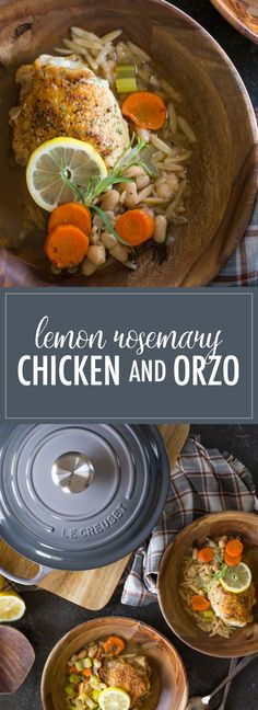 This rustic lemon rosemary chicken dish with orzo, white beans and vegetables comes together with layers of flavor in one Dutch oven in about an hour.