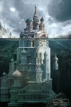Ad campaign for Schusev State Museum of Architecture, cleverly depicting Russian monuments as only a small visible part of a whole, a la iceberg. Fantasy City, Fantasy Castle, Fantasy Places, Fantasy World, Russian Architecture, Architecture Design, Monuments, Saatchi & Saatchi, St Basil's