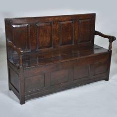 "18th century Oak Box Settle - circa 1720 Width:55"" / 140 cm Depth:19"" / 49 cm Height:37"" / 94 cm"
