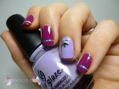 Nail Art tonos morados. Purple nail art. #purple #nailart #silver #nailtape #tape #studs #stars #chinaglaze #Tartt-y #Fot #The #Party,