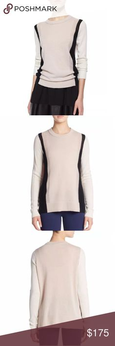 """VINCE color block cashmere sweater **VINCE label was cut out of the back neck but side tag is still intact  Sumptuous cashmere sweater with colorblocked pointelle panels Banded roundneck Long sleeves Ribbed cuffs and hem About 26"""" from shoulder to hem 100% Cashmere Comes from a smoke-free/pet-free home Vince Sweaters Crew & Scoop Necks"""