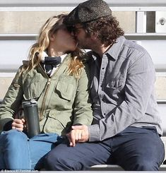 Rachel McAdams leans in to kiss actor Michael Sheen