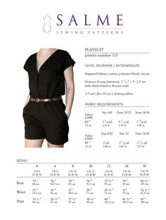 Salme Patterns   Playsuit PDF Sewing pattern