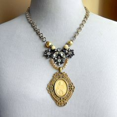 Antique Religious Assemblage Necklace Mary Sterling by Vinchique