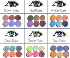 Make-up; eye shadow colours for brown eyes, hazel eyes, amber eyes, aqua eyes, green eyes and blue eyes