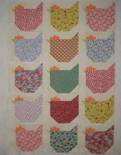 "15 30's Chickens Quilt Blocks for Quilt Top Aunt Grace 5 5""x6 5"" Sale 