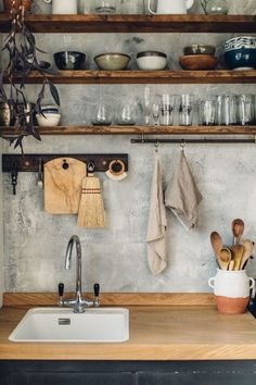 hand-built kitchen in east sussex. open wood kitchen shelving with white-washed concrete backsplash. / sfgirlbybayopen wood kitchen shelving with white-washed concrete backsplash. Home Decor Kitchen, Diy Kitchen, Kitchen Interior, Home Kitchens, Kitchen Rustic, Kitchen Decorations, Kitchen Shelves, Kitchen Ideas, Country Kitchen