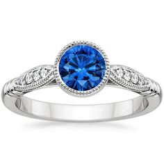 18K White Gold Sapphire Lyra Diamond Ring, top view