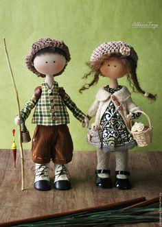 Купить Текстильные куклы Вася и Яруся. - кукла, кукла пара, влюбленная пара