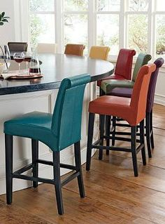 Line your bar or counter with the Valencia Leather Bar Stools; available in twelve  beautiful colors to suit any style and topped with a thick cushion for lasting comfort.