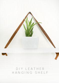 DIY Leather Hanging Shelf - brepurposed