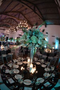 www.magnoliaed.com Magnolia Event Design Art Deco Inspired Wedding at Montecito Country Club Alex Neumann Photography Lighting by Bella Vista Designs Teal, White, Black Floral by Grassroots Calla Lily White Peony White Peonies White Rose Wedding Table Centerpiece
