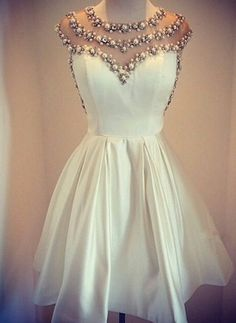 Lovely White Pearls 2016 Short Prom Dress Cap Sleeve Vintage Homecoming Dress…