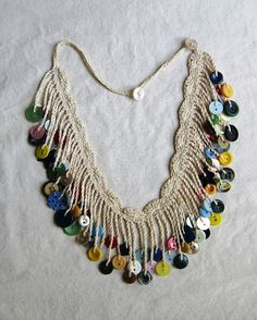 crochet button necklace by SlowWindingWay on Etsy